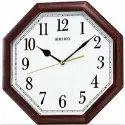 Analog Plastic Seiko Brown Wall Clock, Size: 28.5 Cm X 28.5 Cm X 4 Cm