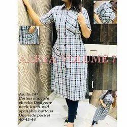 Aarfa 147 Cotton Straight Check Designer Neck Kurti