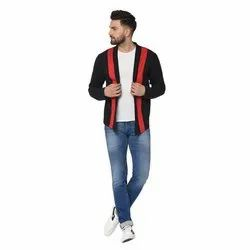 Glito Mens Black And Red Fancy Cardigan