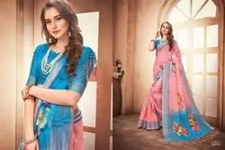 Traditional Linen Saree with 6.3 m Blouse Piece