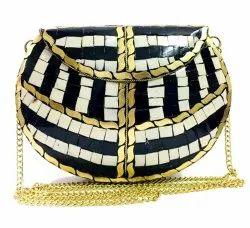 Female Party Zara Black & White Strip Mosaic Stone Clutch Bags, Size: 19.5 X 14.5 X 4cm