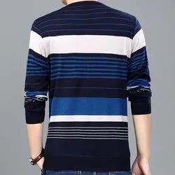 Cotton Striped Mens Full Sleeve T Shirts