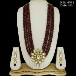 Ruby Beads Stone Necklace Set