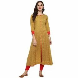 Yash Gallery Women's Cotton Floral Printed Anarkali Kurta