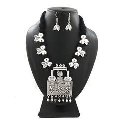 Oxidized Black Thread Leaf Necklace Set