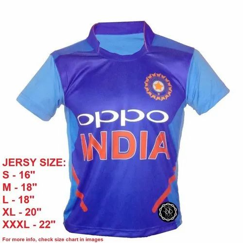 Srsr Team India Cricket Jersey Chineese Collar Polyester Oppo India Unisex Bleed Blue