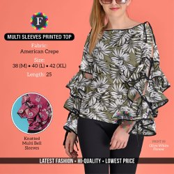 Casual Ladies Multi Sleeves Printed American Crepe Top, Size: M To XL