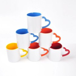 Sublimation Heart Handle Inner Color Mugs