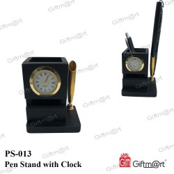 Black Wooden Table Clock With Penstand, For Office, Shape: Square