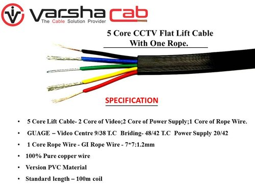 5 Core CCTV Flat Lift Cable with 1 Rope for Industrial Premises