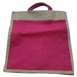 ROOP HANDLE PINK AND Brown 8 Kg Plain Jute Carry Bag, Capacity: 10kg