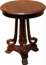 Walnut Jaipur Furniture Wooden Side Table Round Top Solidwood Sheesham