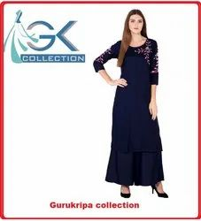 Ladies Rayon Nevi FLR Embroidery Kurti