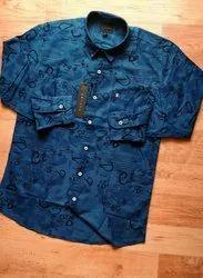 Casual Wear Collar Neck Mens Cotton Printed Shirt