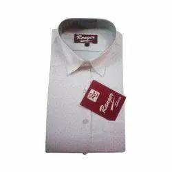 Mens Cotton Ranger White Printed Shirt, Size: 38 - 44