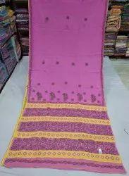 Multicolor Chikankari Lucknowi Chikan Cotton Saree, 1m, 6.3