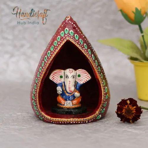 HHIWM001 HHI Paper Mache White Metal Craft Showpiece Ganesh Ji