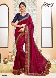 Royal Style Embroidery Hank Work Saree
