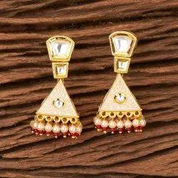 Brass Gold Plated Kundan Jhumki Earring 350298
