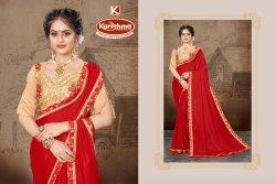 Border Saree With Embroidered Blouse - Gambler