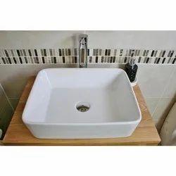Ramanya Enterprises Ceramic Table Top Wash Basin, For Bathroom, 18x17x7 Inch