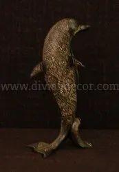 Brass Dolphin Statue