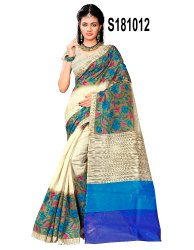 Kalamkari Art Silk Printed Saree with Blouse