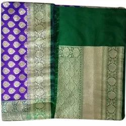 Zari Work Ladies Designer Border Wedding Wear Saree, 6 m (with blouse piece)
