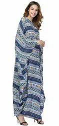 Indian Ethnic Wear Printed Long Rayon Soft Cotton Women Kaftan