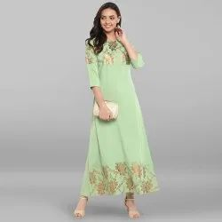 Light Green Poly Crepe Kurta(JNE3293)