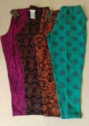 Large And XL Ladies 3/4 Capri Printed And Plain Pants