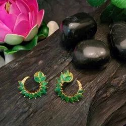 Gold Plated Green Colour Stones Studs Earring