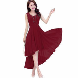Sleeveless Maroon Fashionable One Piece Dress