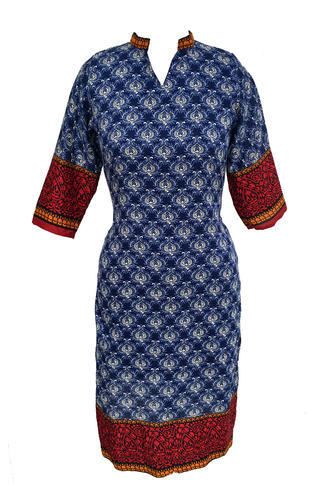Lavanya Cotton Woman  Printed Dark Blue Kurti