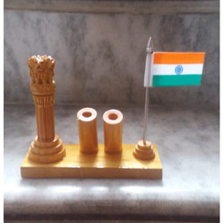Tabletop Wooden Ashoka Stambh With Pen Stand
