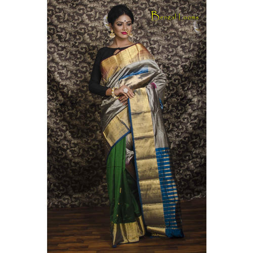 32c7be8dd8a53 Half and Half Kanjivaram Silk Saree in Dark Green