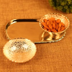 Round Bowl Set With Tray And Two Spoon
