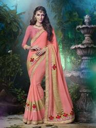 Pink Georgette Latest Trend Saree