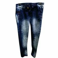 Blue 28-50 Inches Denim Faded Jeans