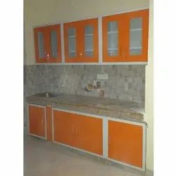 Stainless Steel Straight Staright Orange Modular Kitchen