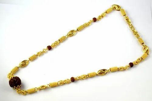 Men' s Gold Plated Brass Rudraksha Chain Mala, Size: 19 Inch