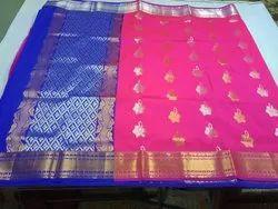 Pink/Blue Ladies Banarasi Cotton Sarees, With Blouse, 5.5 m (separate blouse piece)