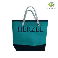 Jute Bag With Leather Handle