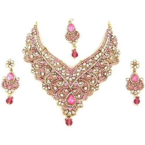 Indian Bridal Gold Necklace Jewellery Valentine Jewellery India