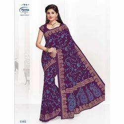 1102 Ladies Cotton Printed Saree, 5.5 M (separate Blouse Piece)