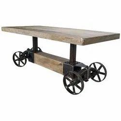 Brown Rectangular Antique Wooden Table