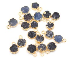 Black Druzy Round Shape Gold Plated Pendant