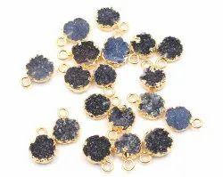 Black Druzy Round Shape Gold Plated Pendant