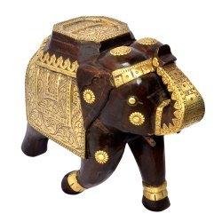 Wooden Handmade Handpainted Elephant Figurine Decorative Showpiece Home Decor Decorative Item