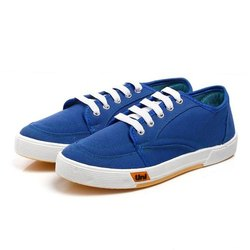 Mens Blue Lace Up Canvas Shoes